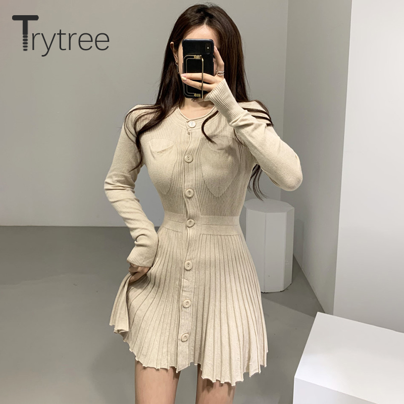 Trytree 2019 Autumn Winter Women Casual Dress O-neck Knitting Single Breasted Pockets A-line Pleated Solid 4 Colour Mini Dress
