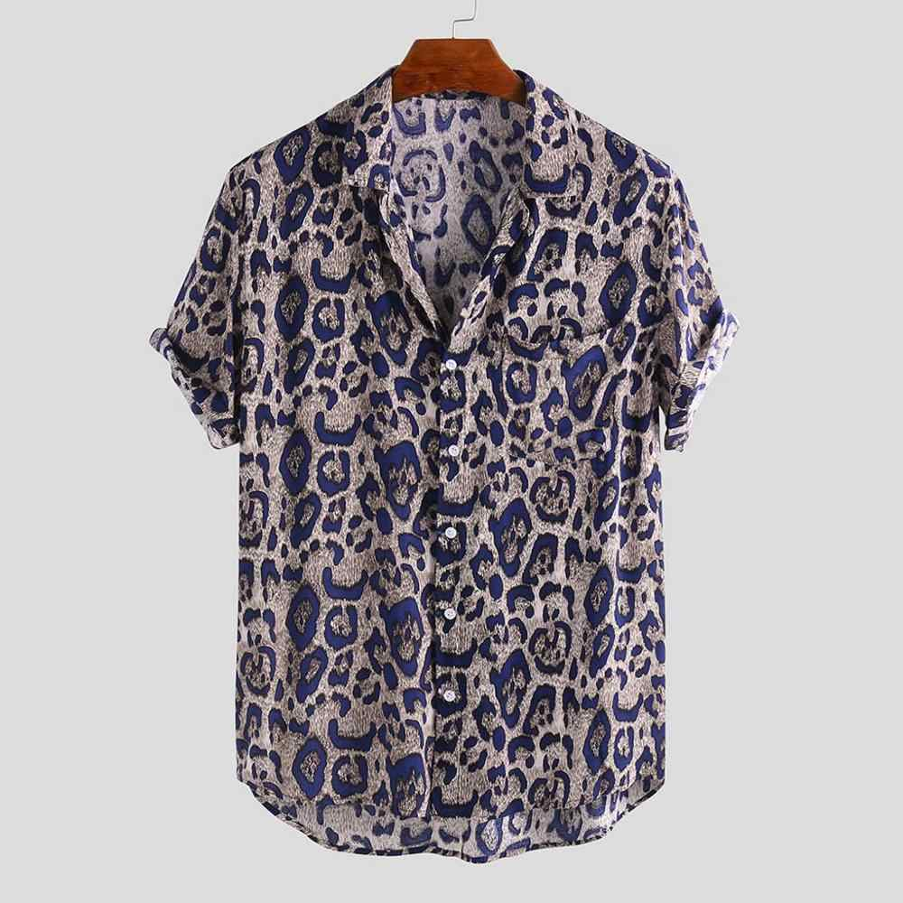 2019 Fashion Brand Short Sleeve Men Leopard Casual Shirts Mens Dress Shirts With Cufflinks Social Microfiber Polyester Shirts