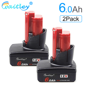 Waitley 2Pack 12V 6.0Ah Battery for Milwaukee M12 Power Tools Compatible 6000mAh Replacement Li-ion batteries