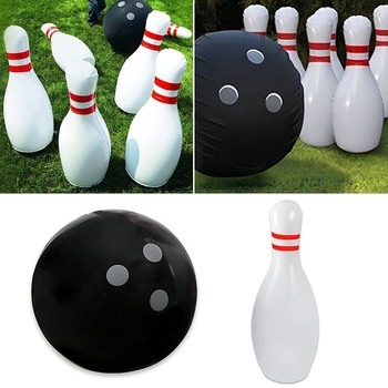 Novelty Place Giant Inflatable Bowling Set for Kids Outdoor Lawn Yard Game Ball GXMB