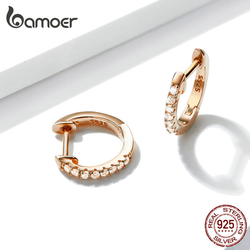 bamoer Authentic HOT SALE 6 Colors Circle Earrings for Women Silver 925 Gold Color Wedding Statement Jewelry Brincos SCE498 1