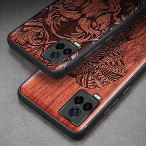 Image 4 - Carveit Wooden Cases For VIVO iQOO 7 Real Wood Covers TPU Silicone Shell 3D Carved Thin Accessories Protective Luxury Phone Hull