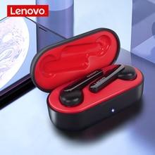 レノボ HT28 TWS 真のワイヤレスイヤホン Bluetooth 5.0 重低音 HD ステレオヘッドフォンノイズキャンセルロングハンドルヘッドセット