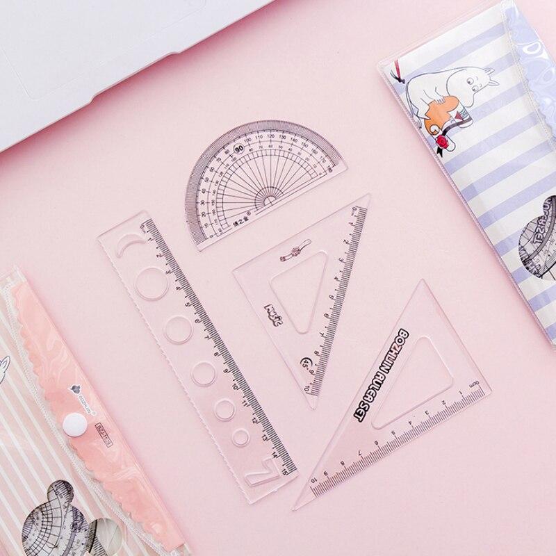 4pcs/set Kawaii Cartoon Creative Hippo Colorful Plastic Ruler Set Novelty Gift For Kids Student Office School Stationery