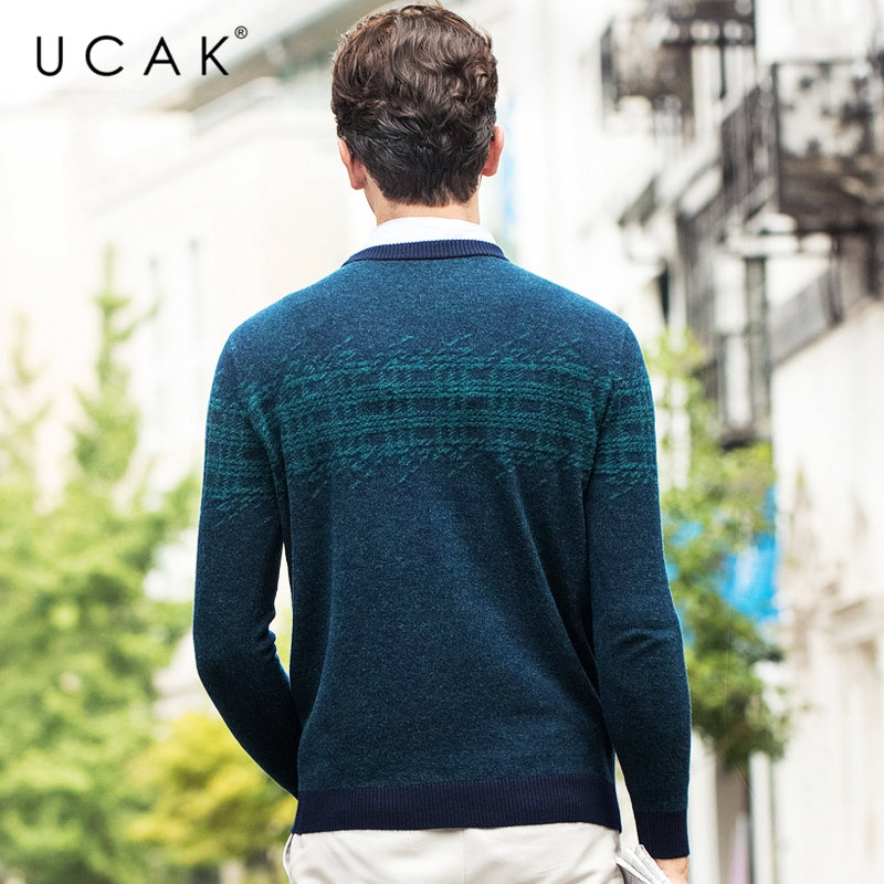 Image 4 - UCAK Brand Pure Merino Wool Sweater Men 2019 New Arrival Autumn 