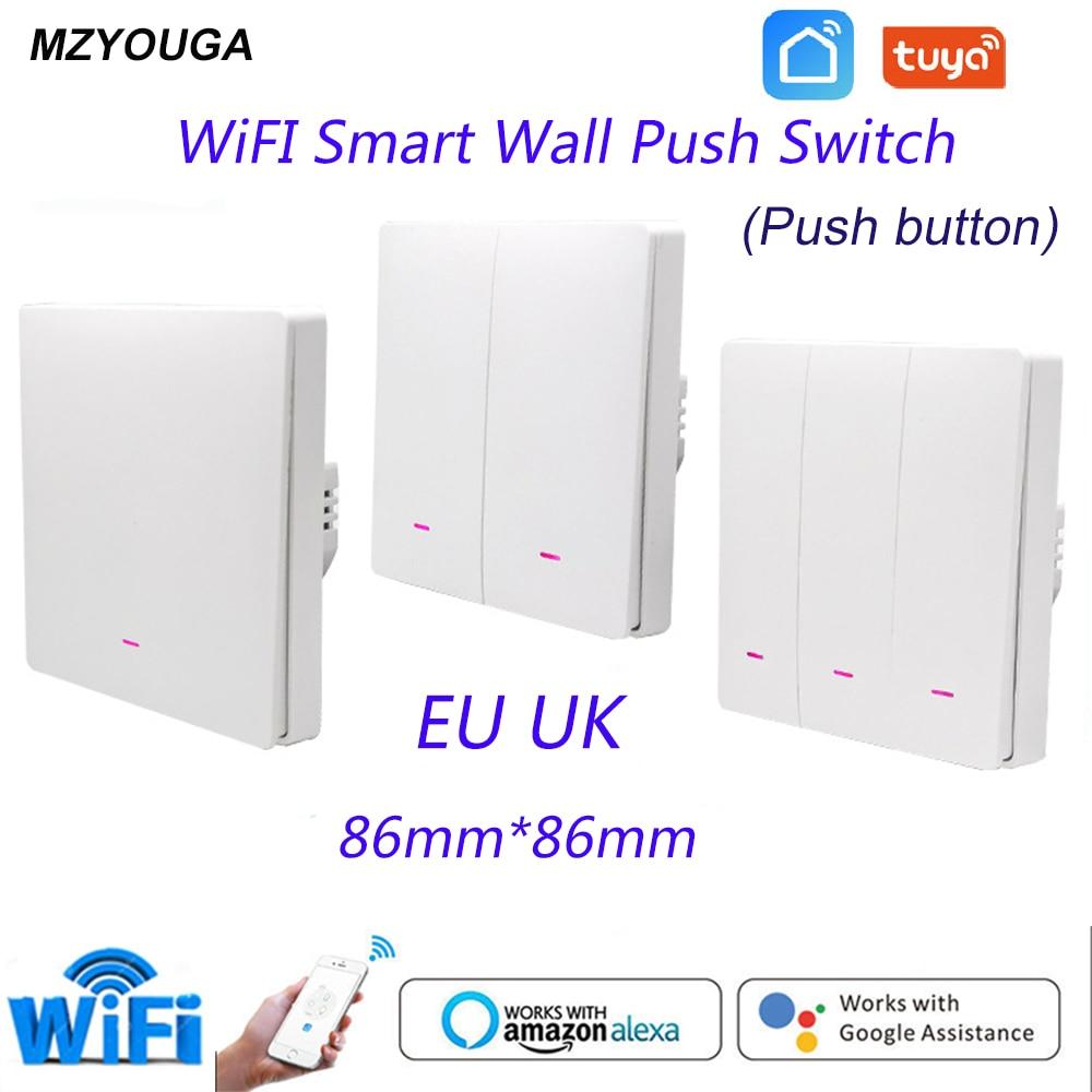 Tuya 1/2/3 gang  Smart Switch WiFi Push Button Wall Light Switches  EU UK  Wireless  Alexa Google Home Assistant