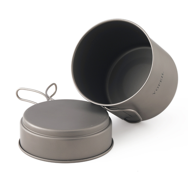 Yofeil camping cookware ultralight titanium frying pan bowl cup outdoor camping cooking set high quality hiking picnic tableware 4