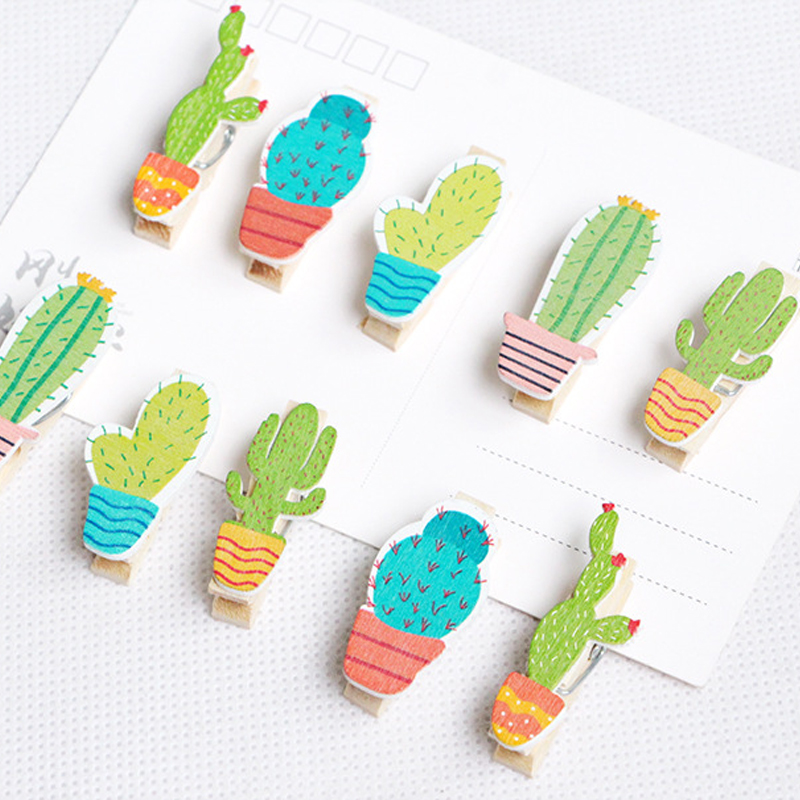 10pcs/lot Cactus Shaped Wooden Clip Bookmark/paper/Packaging  Wooden Clip Multi-function
