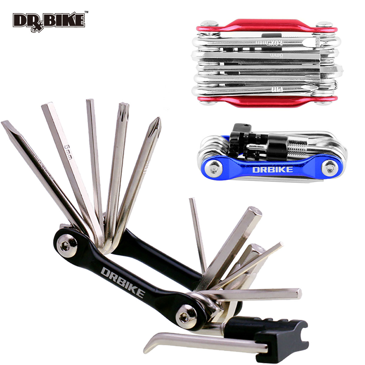 DRBIKE Bicycle multifunction tool kits multitool tire Repair Tool Set with screwdriver Chain Rivet Extractor for MTB Road Bike