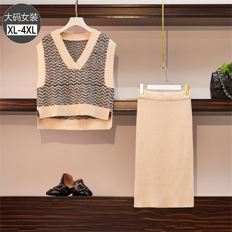 2019 Spring Clothing New Style Large Size Dress Fat Mm Elegant Stripes Knitted Vest Skirt Online Celebrity Two-Piece Women's Fas