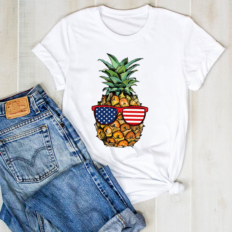 Women Lady Pineapple USA Flag Cartoon Fruit Beach Ladies Summer T Tee Tshirt Womens Female Top Shirt Clothes Graphic T-shirt