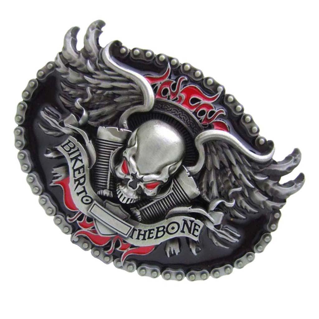 BIKER TO THE BONE Skull Head Vintage Oval Belt Buckle Western Cowboy Mens Accesories