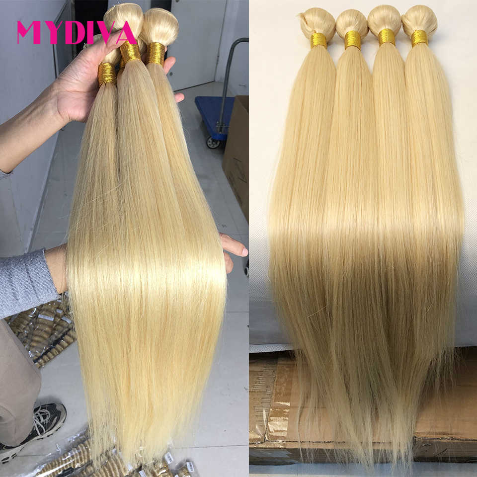 613 Blond Haar Bundels Braziliaanse Hair Weave Bundels 100% Honing Blond Straight Human Hair Extensions 30 32 Inch Remy Haar mydiva