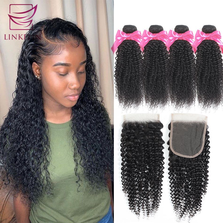 LINKELIN Human Hair Bundles With Closure Peruvian Kinky Curly Hair Bundles With Closure Remy Hair 4 Bundles With Closure