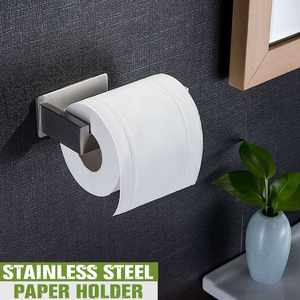 Stainless Steel Bathroom Paper Roll Rack Towel Holder Self Adhesive Wall Mount Toilet Kitchen Tissue Hanger Home Organizer