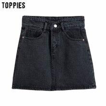 Mini Skirts Jeans A-Line Streetwear Black High-Waist Womens Fashion Summer Faldas Mujer