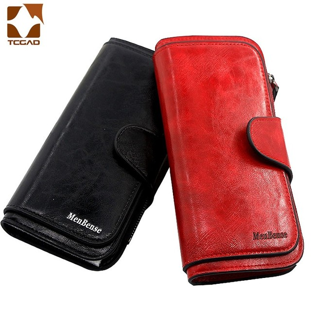 Women's wallet made of leather Wallets Three fold VINTAGE Womens purses mobile phone Purse Female Coin Purse Carteira Feminina 2