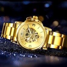WINNER relojes oficiales de lujo para mujer, dorado Corazón mecánico automático, esfera con mecanismo al descubierto, banda de acero inoxidable, reloj elegante para mujer