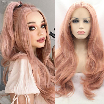 FANXITON Natural Wave Heat Resistant Pink Yellow Green Wigs for Women Synthetic Lace Front Wig Glueless Lace Cosplay Wigs цена 2017