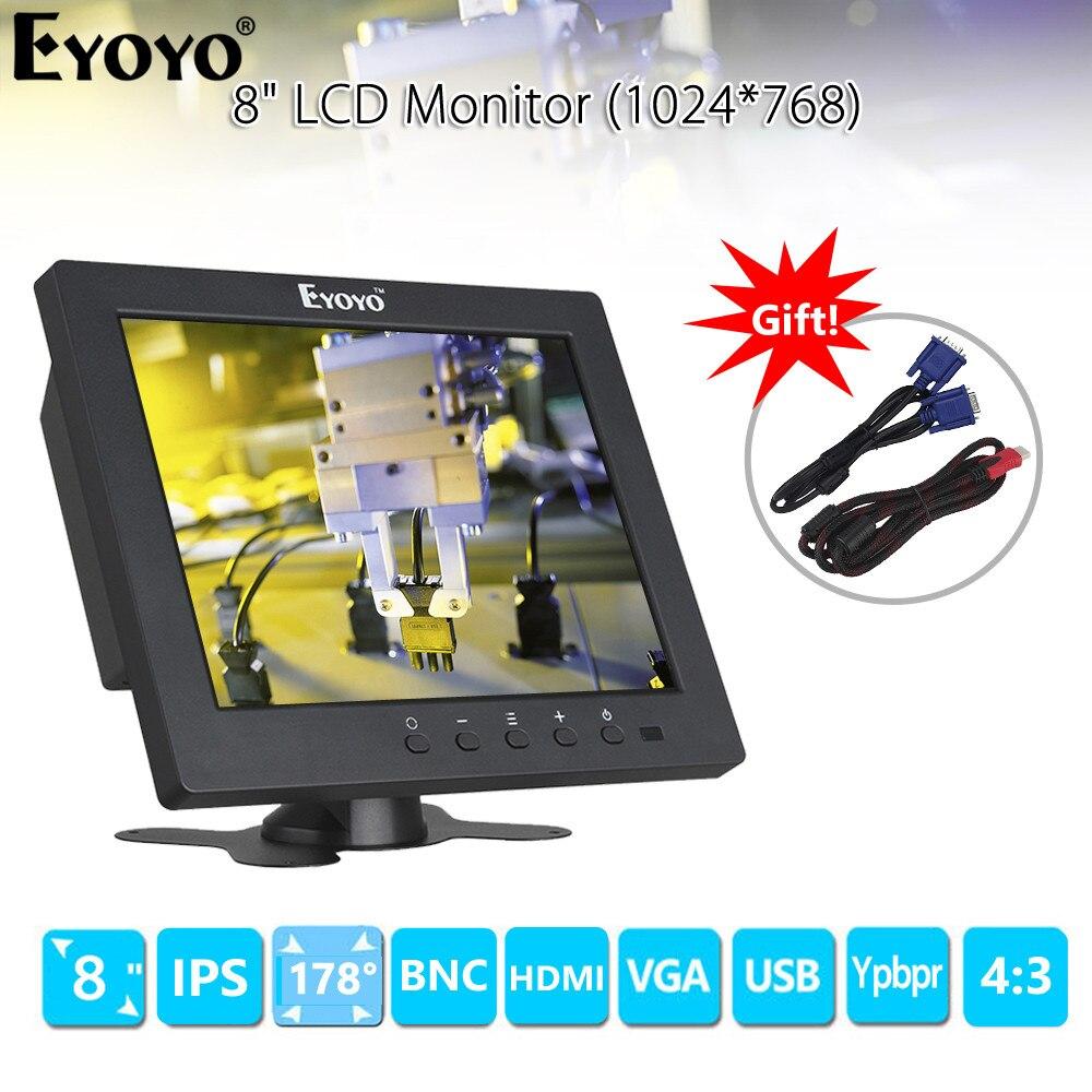 """Eyoyo EM08C 8 """"1024X768 Портативный ТВ монитор с VGA HDMI BNC usb type C ips экран для ПК DVD DVR CC tv камера Windows 7 8 10"""