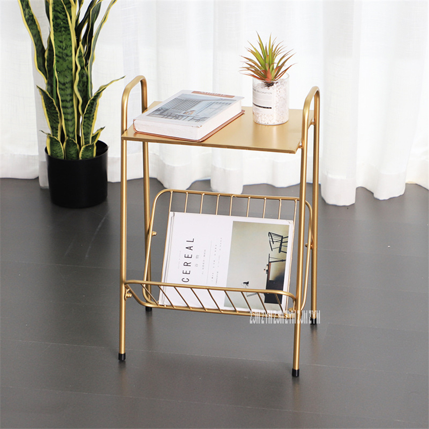 18XS185 Modern Simple Multifunctional 2-Tier Lron Tea Table Bedroom Living Room Double Layer Sofa Side Table Display Stand