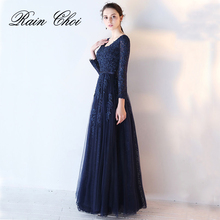 3/4 Long Sleeves Evening Dress 2019 A Line Formal Prom Gown Dresses