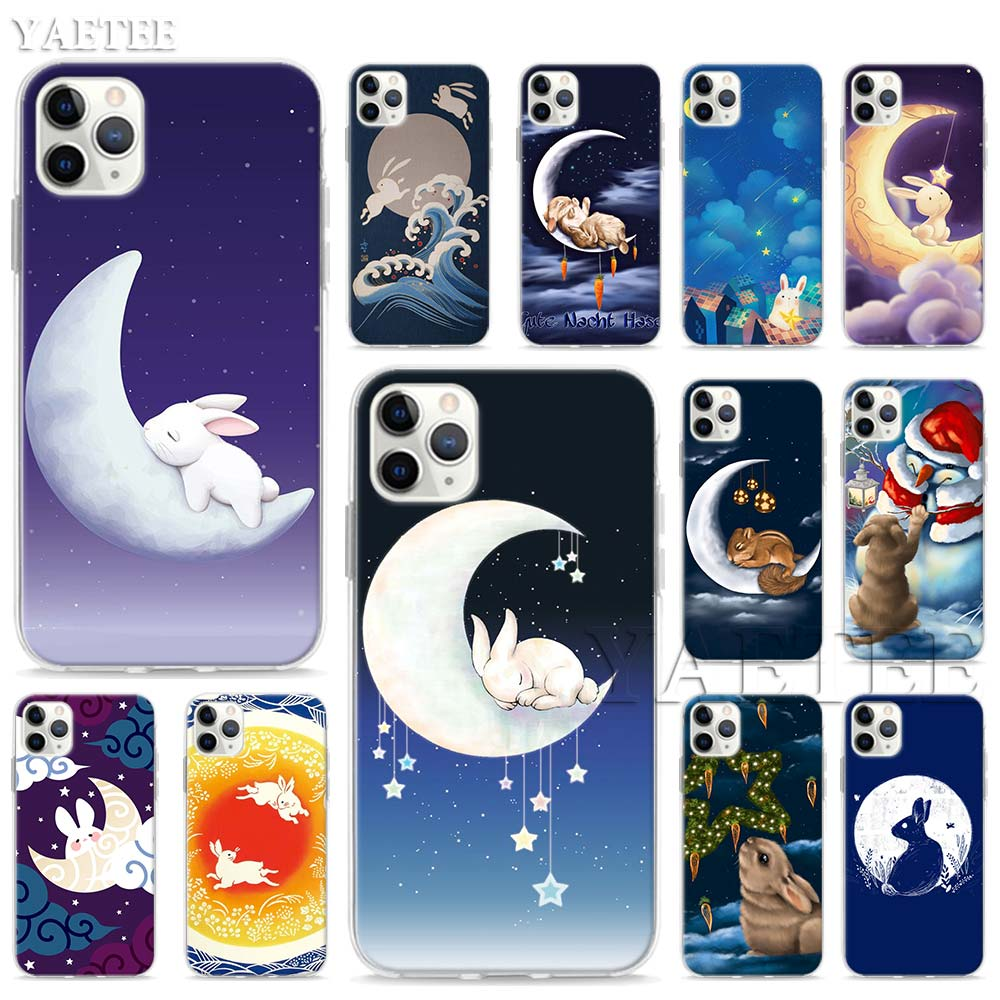 Moon Bunny rabbit Soft <font><b>Case</b></font> for <font><b>Apple</b></font> <font><b>iPhone</b></font> 11 Pro Max XR XS MAX 6 6S 7 8 Plus 5S SE <font><b>Sillicone</b></font> TPU Shell Cover image