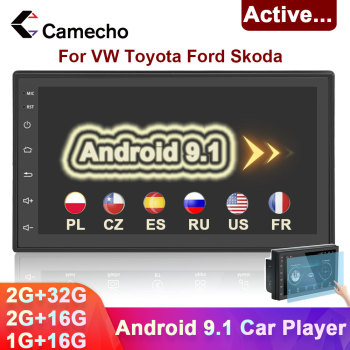 Camecho 2 Din Car Radio Android 9.1 Car Multimedia Player Autoradio 7 Bluetooth GPS 2din Car Stereo For VW Skoda Polo Passat b6 image