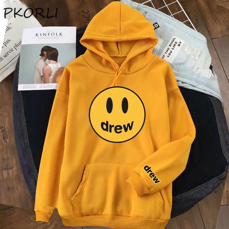 Fashion The Drew House Smile Fasce Hoodies Women Justin Bieber Hoodie Lady Girl Hooded Sweatshirt Tracksuit Hip Hop Steetwear