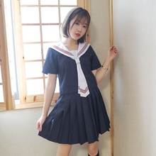 Dark Blue Japanese Students Cosplay Costume JK Student School Uniform Short/Long Sailor Top+Skirt+Tie