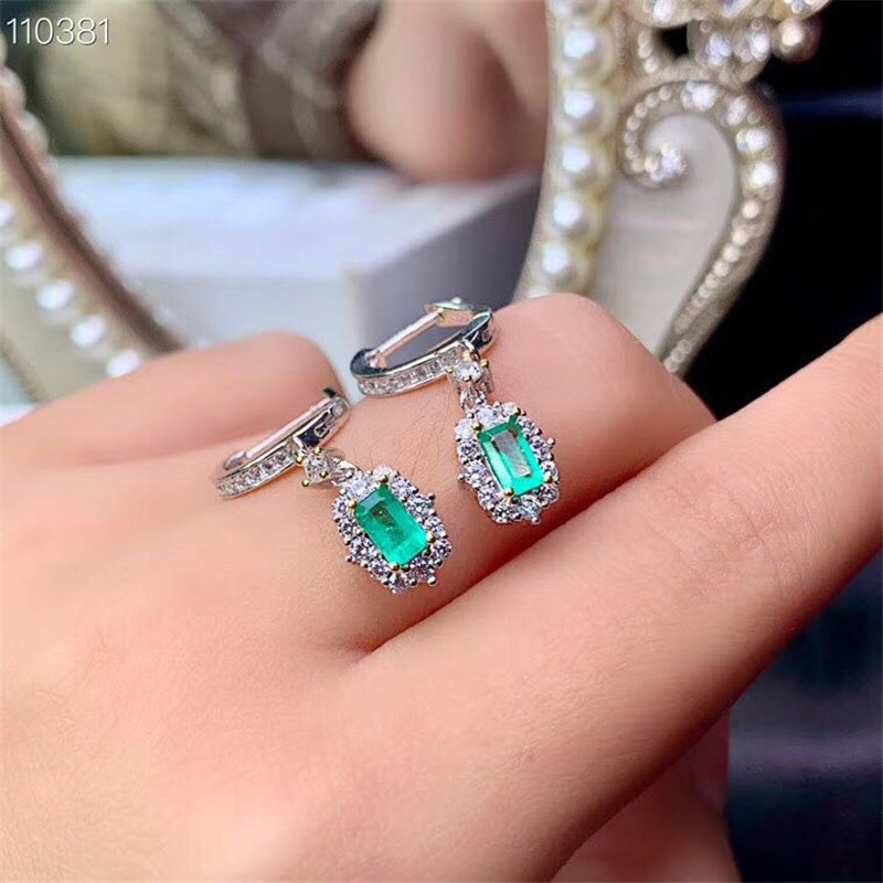 100% 925 Sterling Silver Nature Emerald Gemstone Diamonds Anniversary Earrings Fine Jewelry Gift Wholesale