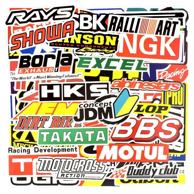 100 pçs jdm modificação do carro de corrida à prova dwaterproof água graffiti adesivo motocicleta bicicleta capacete do motor mala portátil trolley adesivos