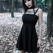 Goth Dark Black Grunge Gothic Female Dresses Harajuku Halter Sexy Pleated Autumn 2019 Womens Dress Punk Backless Patckwork