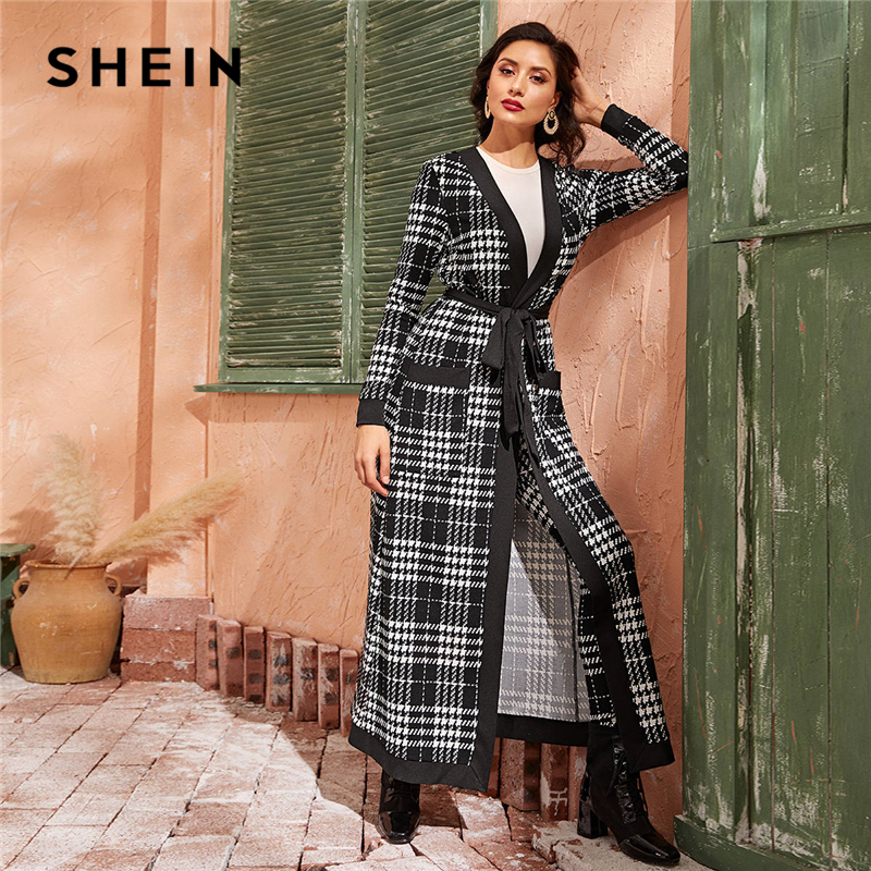 SHEIN Black And White Double Pocket Side Belted Long Coat And Pants Elegant Set 2019 Autumn Streetwear Plaid Ladies Suit Sets