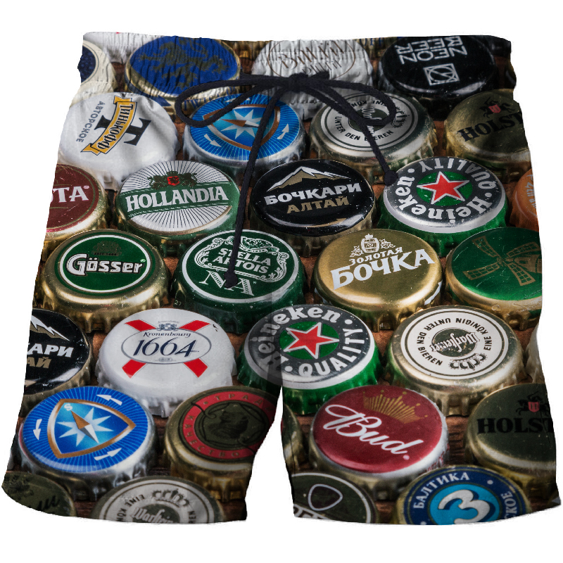 BIANYILONG 2019 Beer Cover Printed Beach Shorts Men Casual Board Shorts Vacation Quick Dry Shorts Swimwear Streetwear DropShip