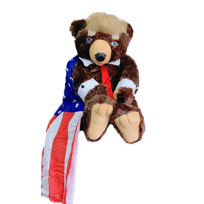 62cm Donald Trump Bear Plush Toy Animal Bear Doll USA President Bear Plush American Flag Bear Doll Toys For Children Lovely Gift
