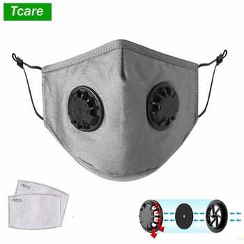 Adult Double Valve Cotton Mask Respirator Washable Reusable Mouth Anti Dust Windproof Face Care Mask Activated Carbon Filter image