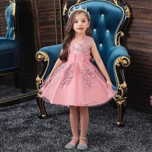 Baby Girls Flower Dress for Girls Lace Cake Tutu Party Dance Princess Dress Pageant Christmas Children Kids Clothes 3 6 7 Years new lace girls dress retro embroidery long sleeve christmas clothes girls party dress teenagers princess dress 3 13 years ca341