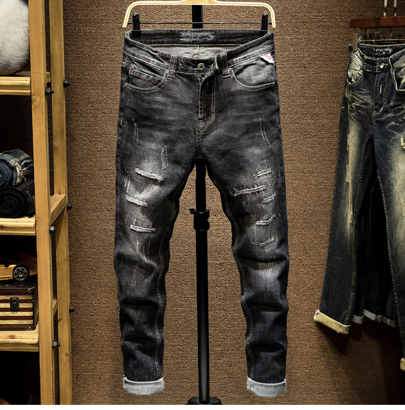 KSTUN Ripped Jeans for Men Slim Fit Stretch Fashion High Street Style Male Denim Pants Frayed Destroyed Vintage Mens Punk  Jeans 11