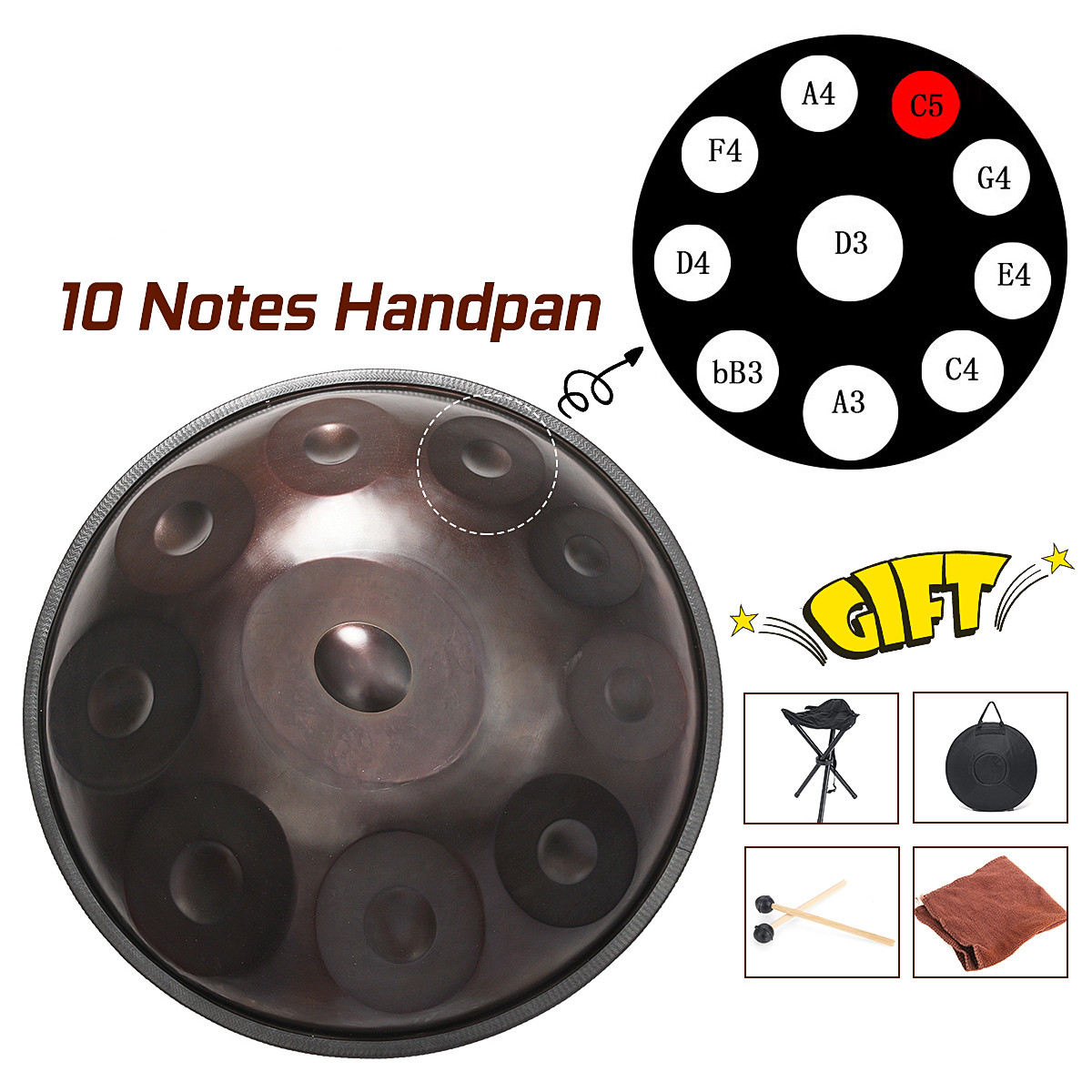 Upgraded 10 Notes Handmade Performance Hand Drum Steel 56cm Hand Steel Drum 10 Tones Percussion Musical Instruments Drum Gift