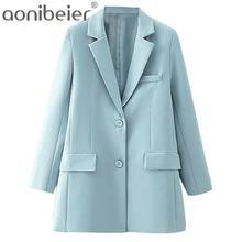 Aonibeier-chaquetas lisas azules para mujer, chaqueta de trabajo, traje de oficina, holgado, una sola botonadura, informal, color sólido, otoño