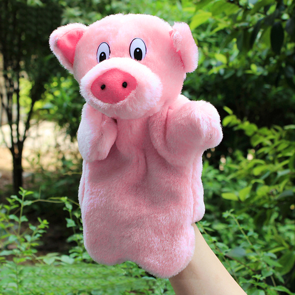 Lovely Pink Pig Hand Puppet Baby Kids Educational Soft Doll Plush Toys for Children Gifts