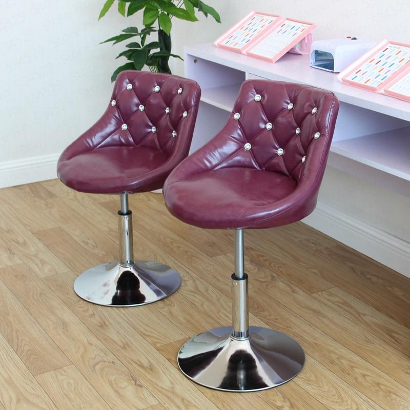 European Bar Stool Chair Lift Swivel Chair Bar Stool Beauty Dressing Backrest Formal Dining Chair Makeup Artist Chair