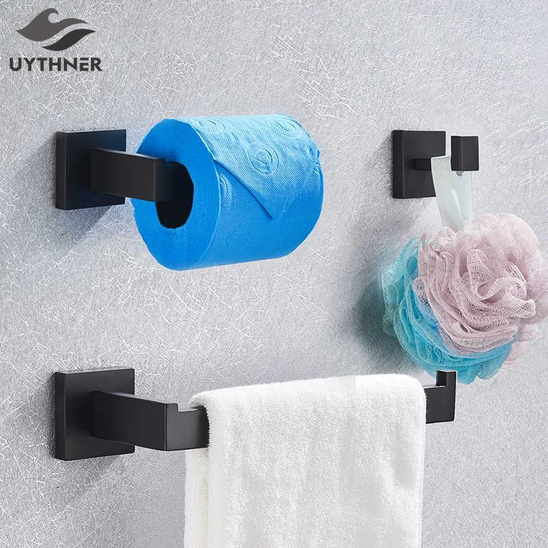 Zestawy sprzętu łazienkowego czarny wieszak na ręczniki wieszak ścienny wieża wieszak półka serwetnik haczyk na ubrania akcesoria łazienkowe