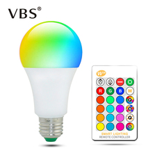E27 Color LED Light Bulb RGB  Dimmable Changing Bulbs 5W 10W 15W Smart With RC for Party Holiday Bed lamp