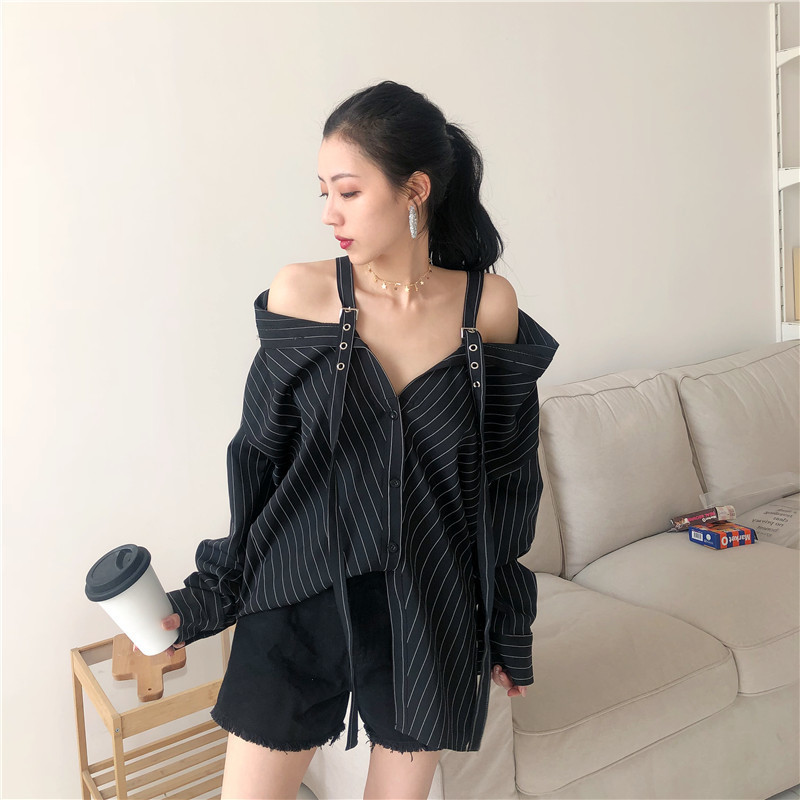 Hcc9ef6ec6f8c4962b8847a7bb5aa7c96Q - LANMREM New Fashion Personality Black Strap Vertical Stripe Off-shoulder Long Sleeve Shirt Female's Blouse Vestido YE22801