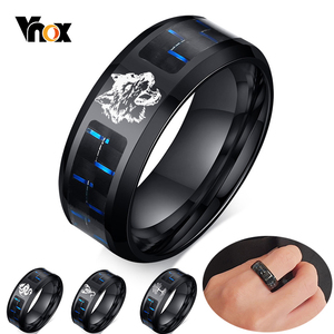 Vnox Men's 8mm Personalize Laser Engraved Wolf Dragon Bands Ring Black Stainless Steel with Carbon Fiber Custom Gifts Jewelry