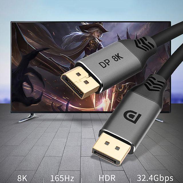 DisplayPort 1.4 כבל 8K 4K HDR 60Hz 144Hz תצוגת יציאת מתאם עבור וידאו מחשב נייד טלוויזיה DP 1.4 DisplayPort כבל