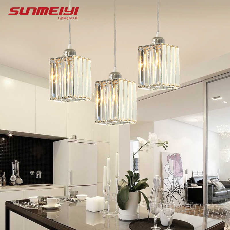 Vintage LED Crystal Pendant Lights For Kitchen Island Bar Coffee Dining Table Bedroom Nordic Loft Cord Crystal Living room Light