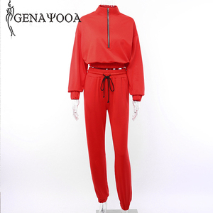 Image 5 - Genayooa Brand Tracksuit Women Fitness Two Piece Set Top And Pant Long Sleeve Crop Top Sweat Suits Women 2 Piece Set Female 2019